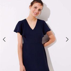 Navy Flutter Sleeve Dress